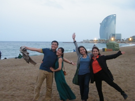 With my wife, Lyra, and Dr. Grace Caras and Dr. Ana Pangan. In the background is the W Barcelona Hotel.